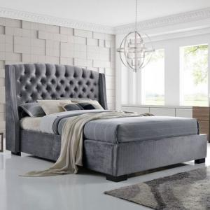 Epsilon King Size Bed In Dark Grey Velvet Fabric
