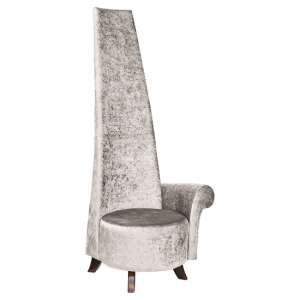 Ergo Potenza Chair In Silver Crush Fabric With Wooden Feet