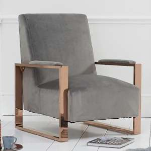 Erocine Velvet Accent Chair In Grey With Rose Gold Frame