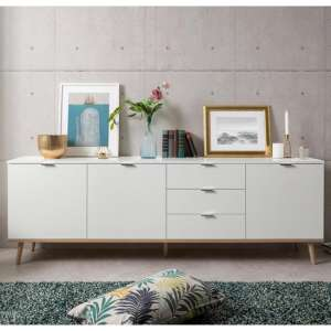 Eridanus Large Wooden Sideboard In White And Sonoma Oak