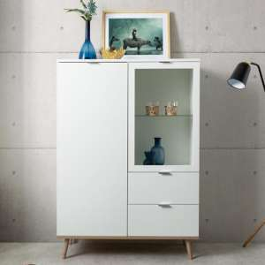 Eridanus Small Wooden Display Unit In White And Sonoma Oak
