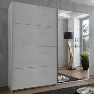 Ernie Sliding Door Mirrored Wooden Wardrobe In Light Grey