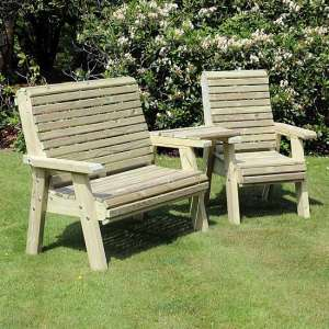 Erog Wooden Outdoor Angled Bench And Chair Seating Set