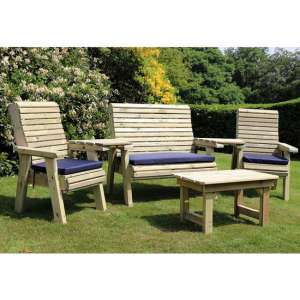 Erog Wooden Outdoor Occasional Seating Set With Coffee Table