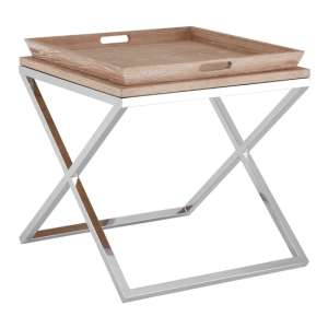 Errai Wooden Tray Side Table In Pale Oak
