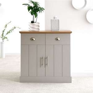 Ervin Compact Sideboard In Grey With Oak Effect Top