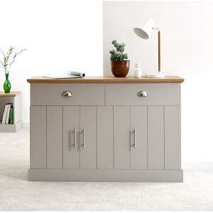 Ervin Large Sideboard In Grey With Oak Effect Top