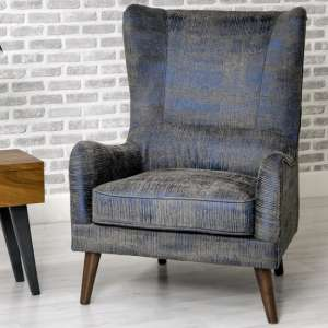 Erwan Fabric Sofa Chair In Blue With Wooden Legs