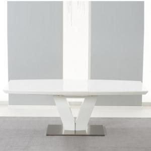 Espero Extendable Dining Table In White Gloss With Metal Base