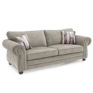 Esprit Fabric 3 Seater Sofa In Mink With Wooden Legs