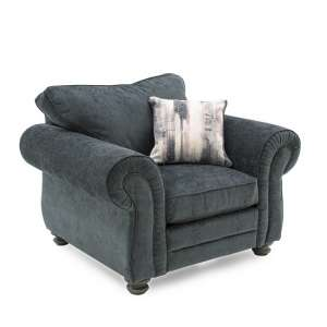 Esprit Fabric Sofa Chair In Charcoal With Wooden Legs