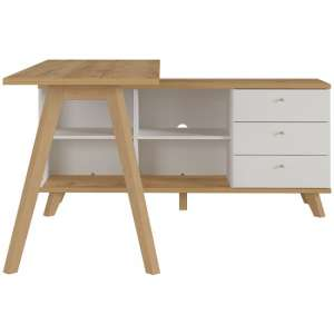 Essary Wooden Computer Desk In White And Navarra Oak
