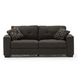 Estelle Fabric 3 Seater In Grey With Dark Wooden Feet