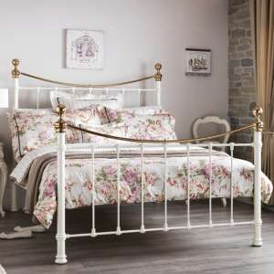 Ethan Precious Metal Double Bed In Ivory And Brass