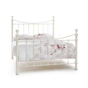 Ethan Precious Metal King Size Bed In Ivory Gloss