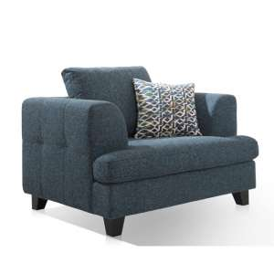 Etta Fabric Upholstered 1 Seater Sofa In Blue