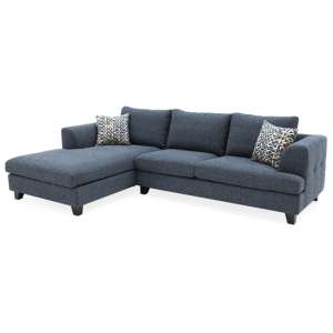 Etta Fabric Upholstered Left Corner Sofa In Blue