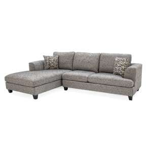Etta Fabric Upholstered Left Corner Sofa In Grey