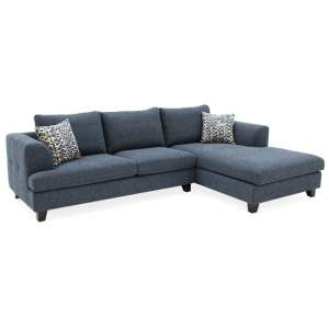 Etta Fabric Upholstered Right Corner Sofa In Blue