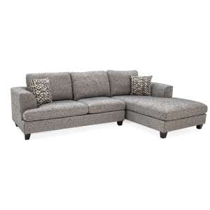 Etta Fabric Upholstered Right Corner Sofa In Grey