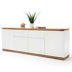 Everly Large Sideboard In Matt White Lacquered And Oak