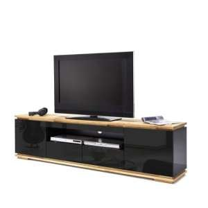 Everly TV Stand In Black High Gloss Lacquered And Oak
