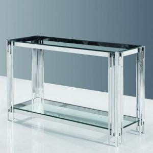 Evoke Glass Console Table In Clear With Polished Steel Frame