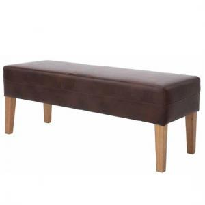 Evoke Dining Bench In Tan Faux Leather With Wooden Legs