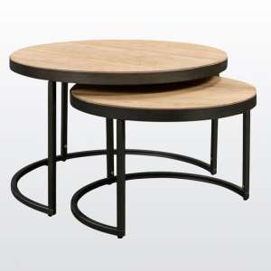 Evora Round Oak Nest Of Tables With Metal Frame
