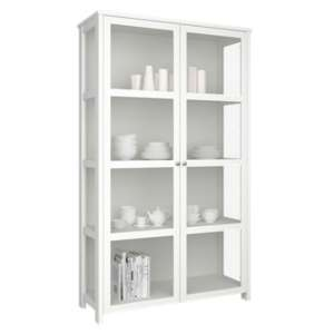Excellent Wooden Display Cabinet In White With 2 Glass Doors