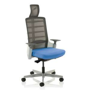 Exo Charcoal Grey Back Office Chair With Stevia Blue Seat