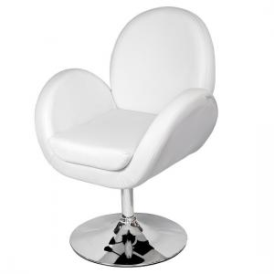 Ego Lounge Chair In White Faux Leather With Chrome Base
