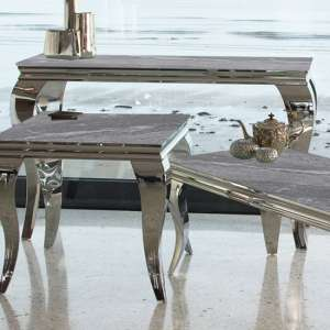 Fabiro Large Marbled Glass Console Table In Grey