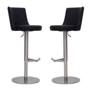 Fabio Bar Stools In Black Faux Leather In A Pair