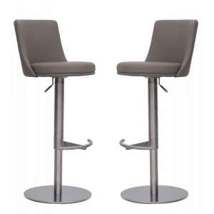 Fabio Bar Stools In Taupe Faux Leather In A Pair