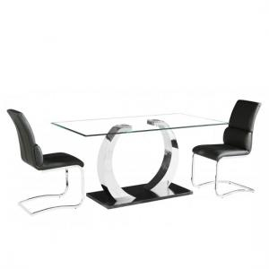 Fairmont Glass Dining Table In Clear With 6 Black Chairs