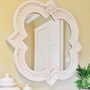 Faith Wall Mirror In Off White Embossed Distressed Frame