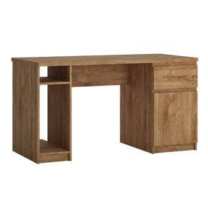 Fank 1 Door 1 Drawer Twin Pedestal Computer Desk In Oak