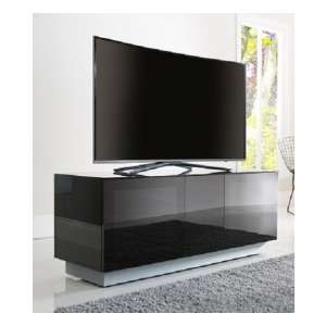 Faraday Small TV Stand In Black With Glass Door