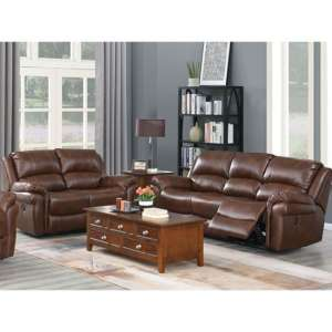 Farnham Leather 3 And 2 Seater Sofa Suite In Tan
