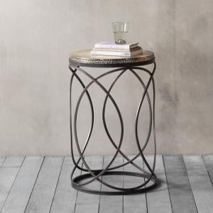 Farrah Metal Round Side Table In Gold And Black