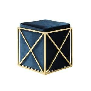 Farran Stool In Blue Velvet With Gold Plated Stainless Steel