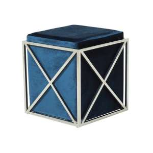 Farran Stool In Blue Velvet With Polished Stainless Steel