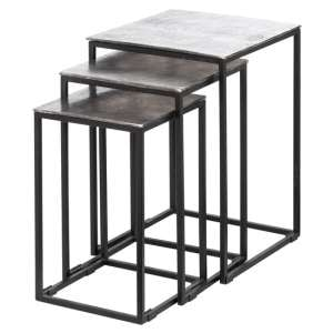 Farron Metal Square Nest Of 3 Tables In Silver