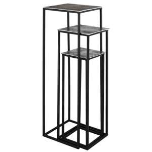 Farron Metal Square Tall Nest Of 3 Tables In Silver