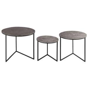 Farron Round Metal Set of 3 Nesting Tables In Silver