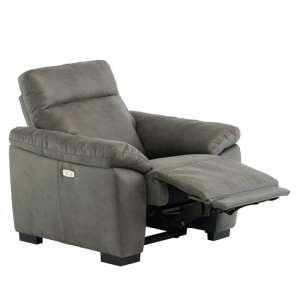 Farrow Fabric Electric Recliner Armchair In Grey