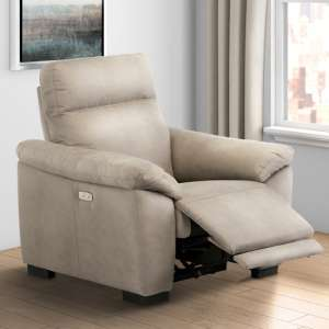 Farrow Fabric Electric Recliner Armchair In Natural