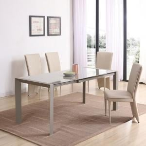 Farum Glass Extendable Dining Table In Matt Cream 4 Ergo Chairs