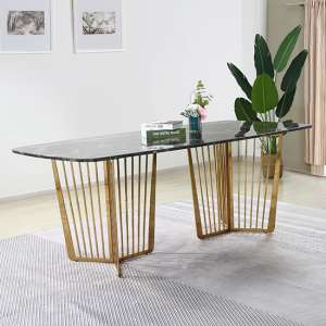 Fastro Black Marble Dining Table With Gold Stainless Steel Legs